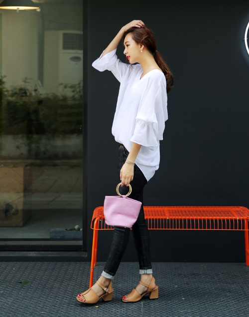 V-neck Frill Sleeve Blouse