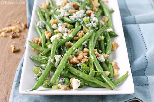 Low-FODMAP Green Beans with Walnuts & Blue Cheese  /  Delicious as it Looks