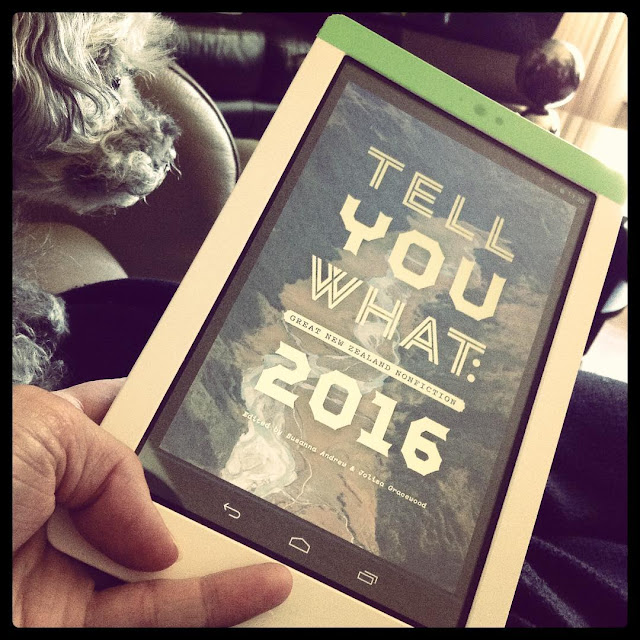 Short-haired Murchie stares away from the camera. In front of him, taking up most of the shot, is a white Kobo with the cover of Tell You What Great New Zealand Nonfiction 2016 on it. The title appears in large yellow letters against a photograph of a river shot from above.