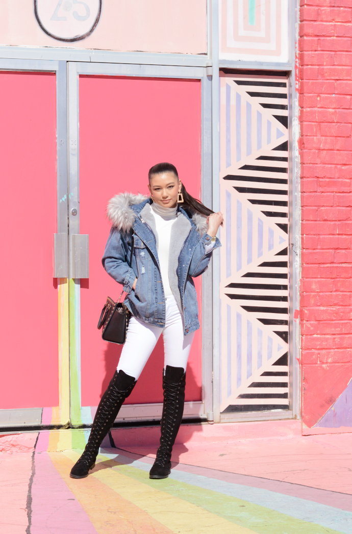 faux fur denim coat, lace up over the knee boots, drop earrings