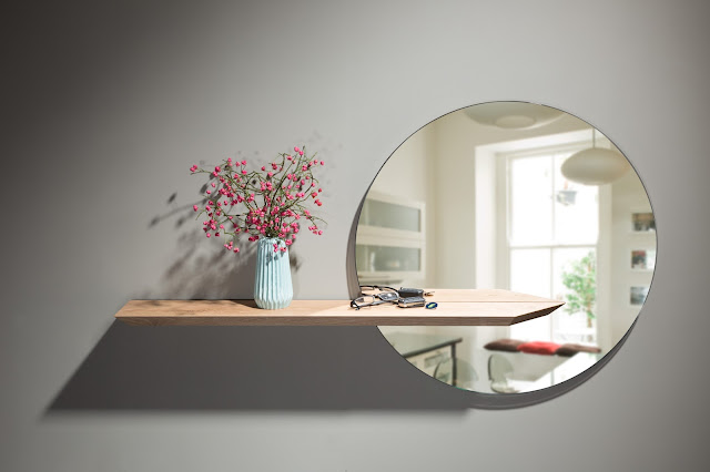 Round mirror with floating oak shelf