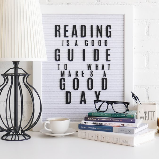 September 6 is Read A Book Day by Jamie Pate| @heidiswapp Letterboard VIgnette by @jamie Pate