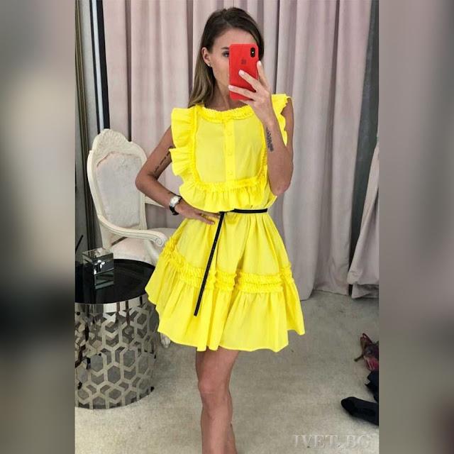 Αμάνικο κοντό κίτρινο φόρεμα ANETA YELLOW