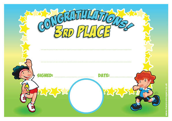 Blank 3rd Place Winner Certificate Template  First Place Award Template
