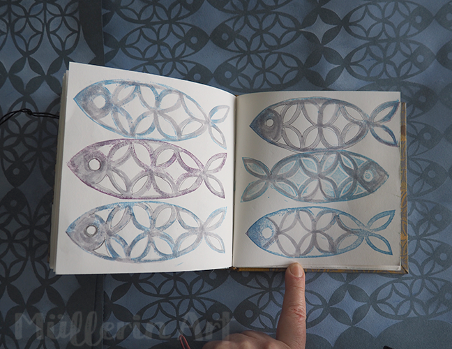 Fischmuster im Skizzenbuch nach ©muellerinart