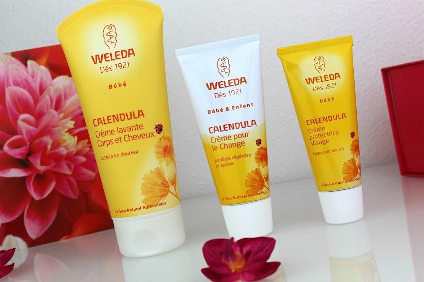 Swap blog beauté Weleda bébé Calendula crème lavante crème pour le change et crème protectrice visage