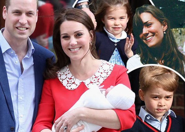 Prens William, Kate Middleton, Prince George, Princess Charlotte and Prince Louis Arthur Charles. Wedding of William and Catherine. Meghan Markle