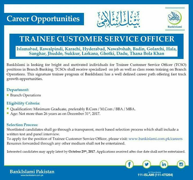Customer Service Officer Jobs in Bank Islami Pakistan Jobs 2017