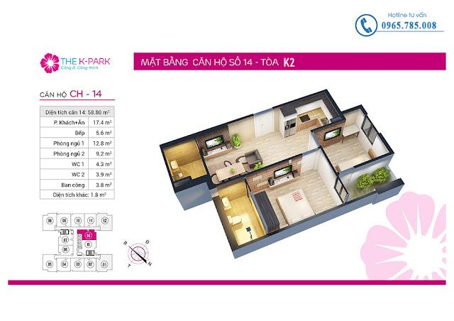 Thiết kế căn hộ số 14 tòa k2