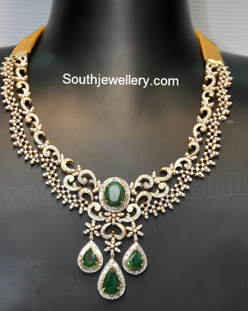 Elegant Diamond Necklace Jewellery Designs