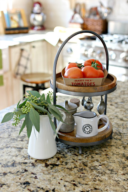 Tiered kitchen stand from World Market on kitchen island