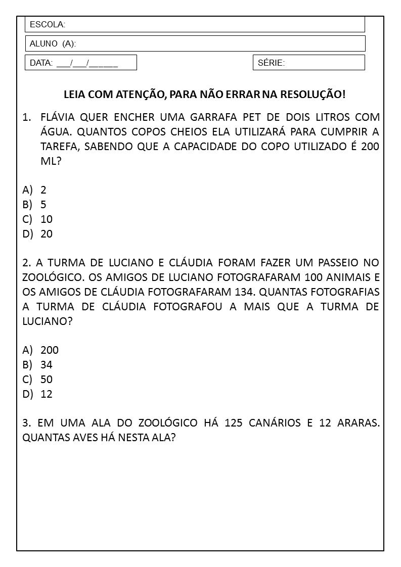 Suficiente PLANO DE AULA 3º ANO: SEQUÊNCIA DIDÁTICA DE MATEMÁTICA — SÓ ESCOLA CX33