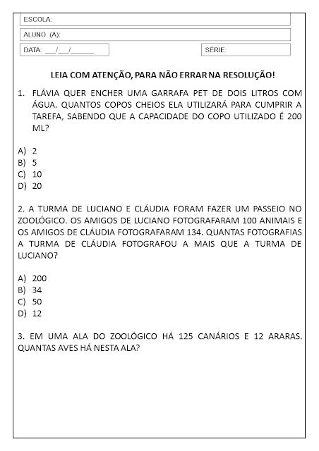3º ANO: SEQUÊNCIA DIDÁTICA DE MATEMÁTICA PARA IMPRIMIR