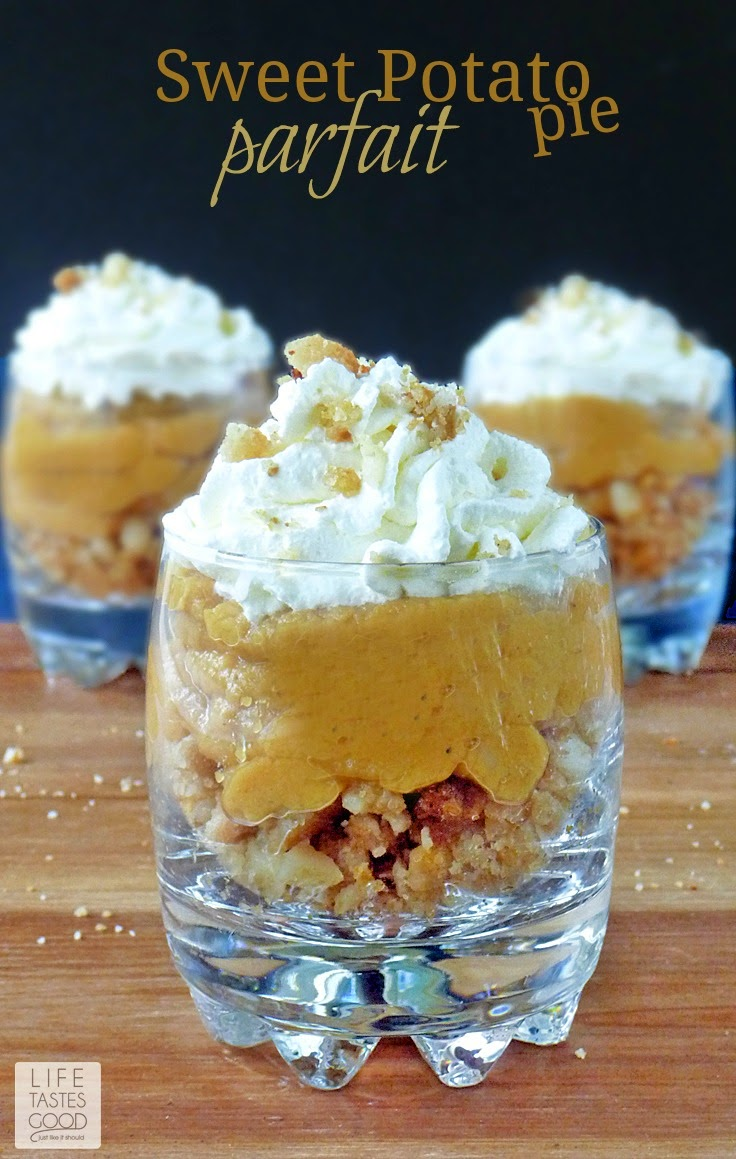 Sweet Potato Pie Parfait | by Life Tastes Good is a deconstructed Mrs. Smith's pie and cool whip recreated into a stunning dessert! Everyone will be impressed by your culinary skills when you serve this new twist on an old favorite! You only need 4 ingredients and about 10 minutes to put these together. No baking required! #ThankfullySweet
