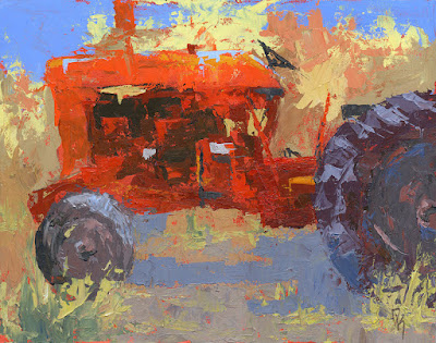 art painting tractor farmall red abandoned abstract