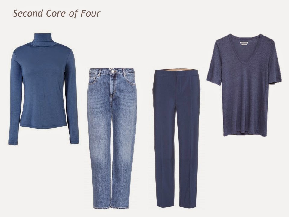 Core of Four garments in denim blue: turtleneck, jeans, trousers and tee shirt