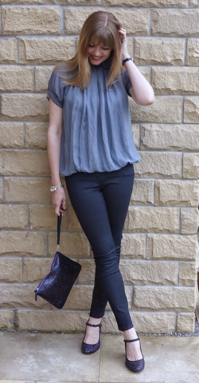 Phase eight grey silk top with rose corsage, multi coloured glitter shoes, multi glitter clutch