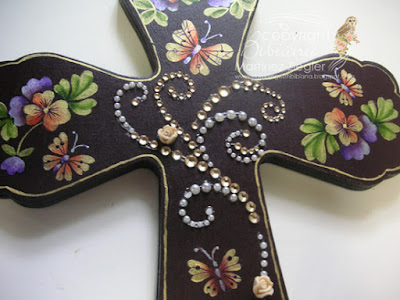 easter wood acrylic painted cross detail center