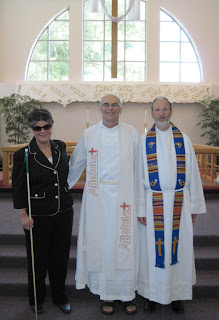 Laurel with Pastor Ed and Pastor Dave at Calvary Lutheran Church