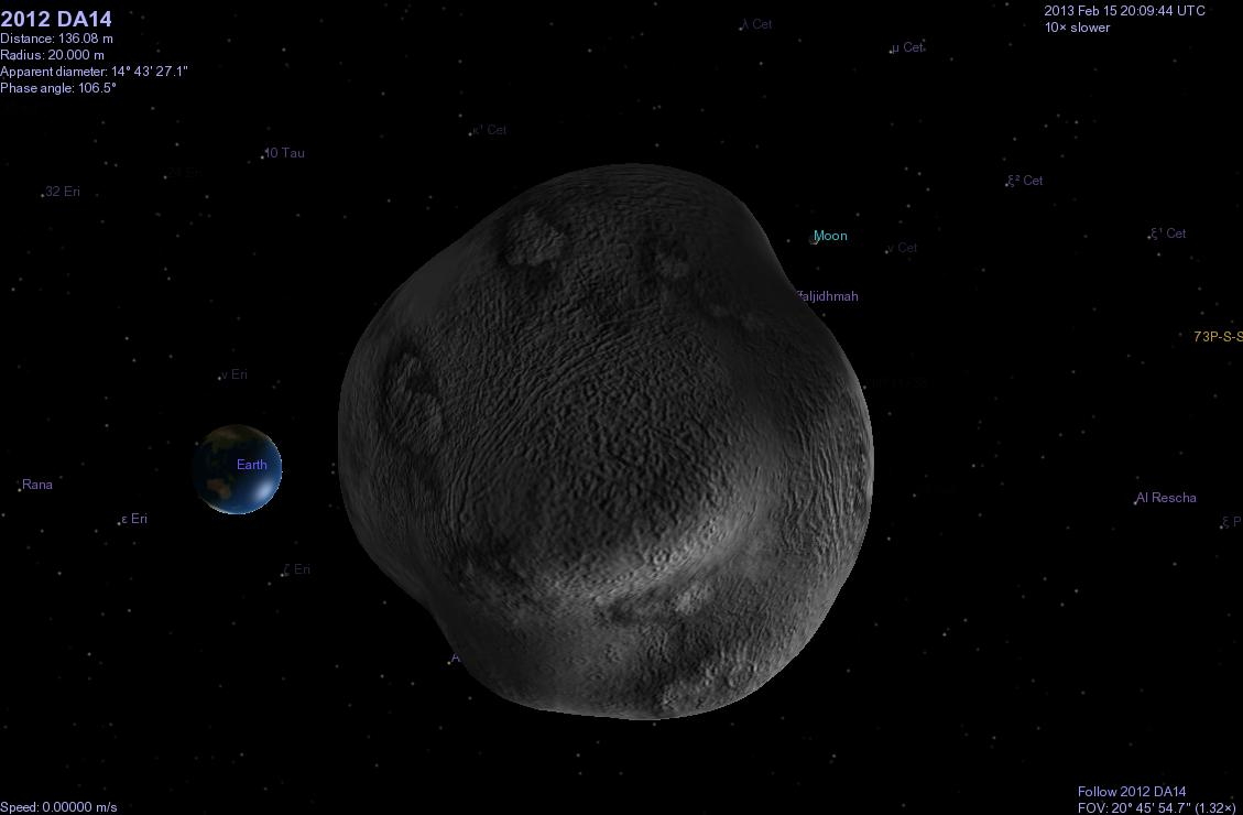 Astroblog: C/2012 DA14 in Celestia