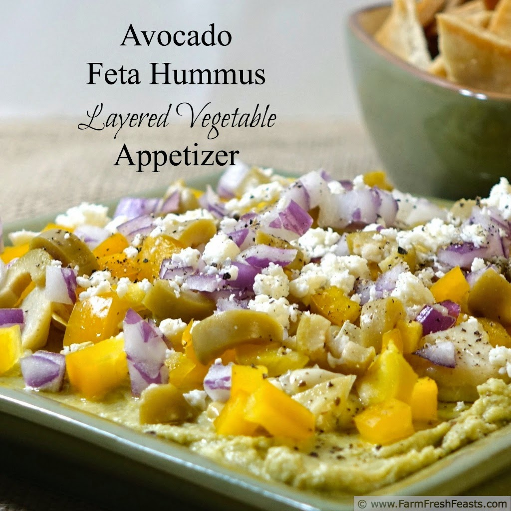 Avocado feta hummus is good as a stand alone dip--but it sings when you layer it with fresh & preserved vegetables and additional cheese then scoop it up with fresh veggies and pita chips.
