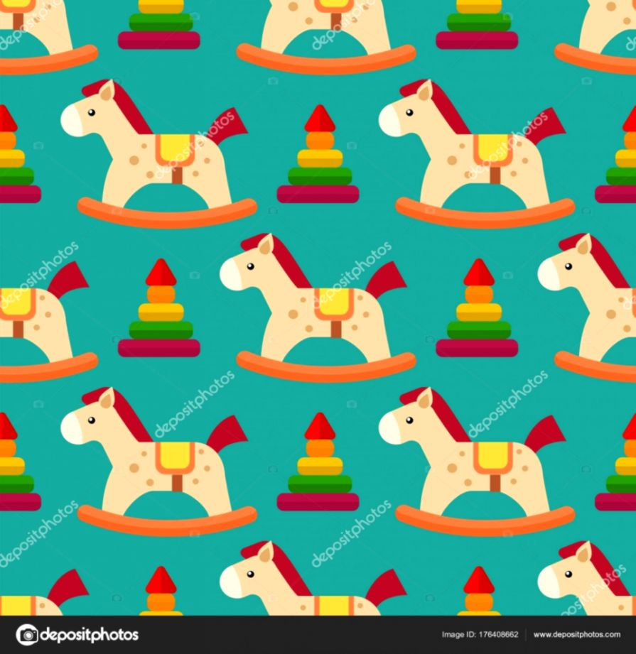 Funny wood horse colors pony wallpaper vector seamless pattern