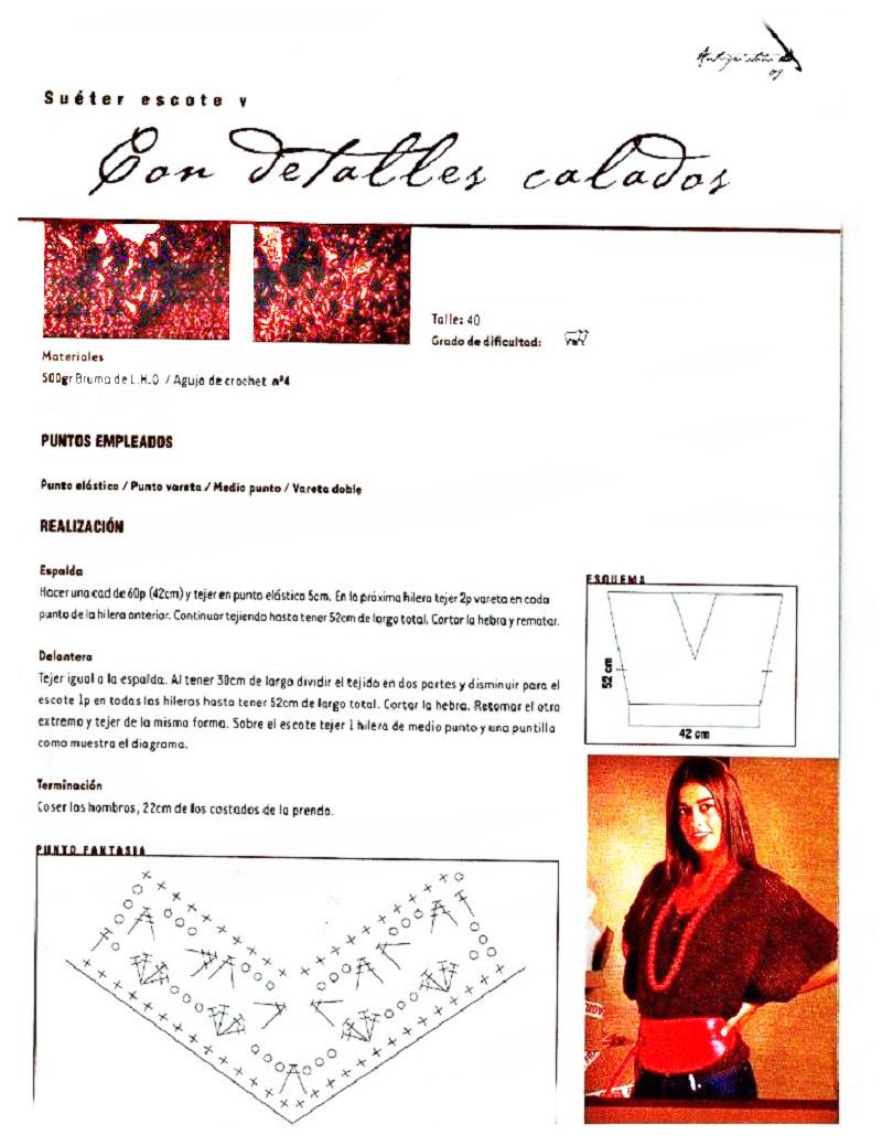 Sueter manga kimono patrón crochet