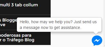 Facebook messenger widget Blogger enviar mensagem direto