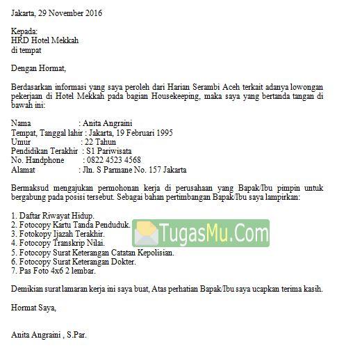 Download Contoh Surat Lamaran Kerja Di Hotel Dalam Bahasa Inggris Dan Artinya Indonesia