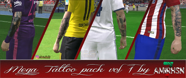 PES 2017 Mega tattoopack Vol 1 by Amir.Hsn7 Facemaker