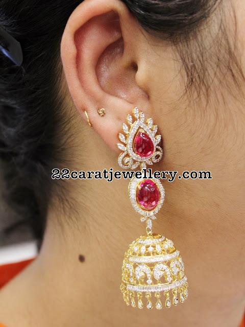 Trendy Diamond Jhumka by Kothari Jewelry