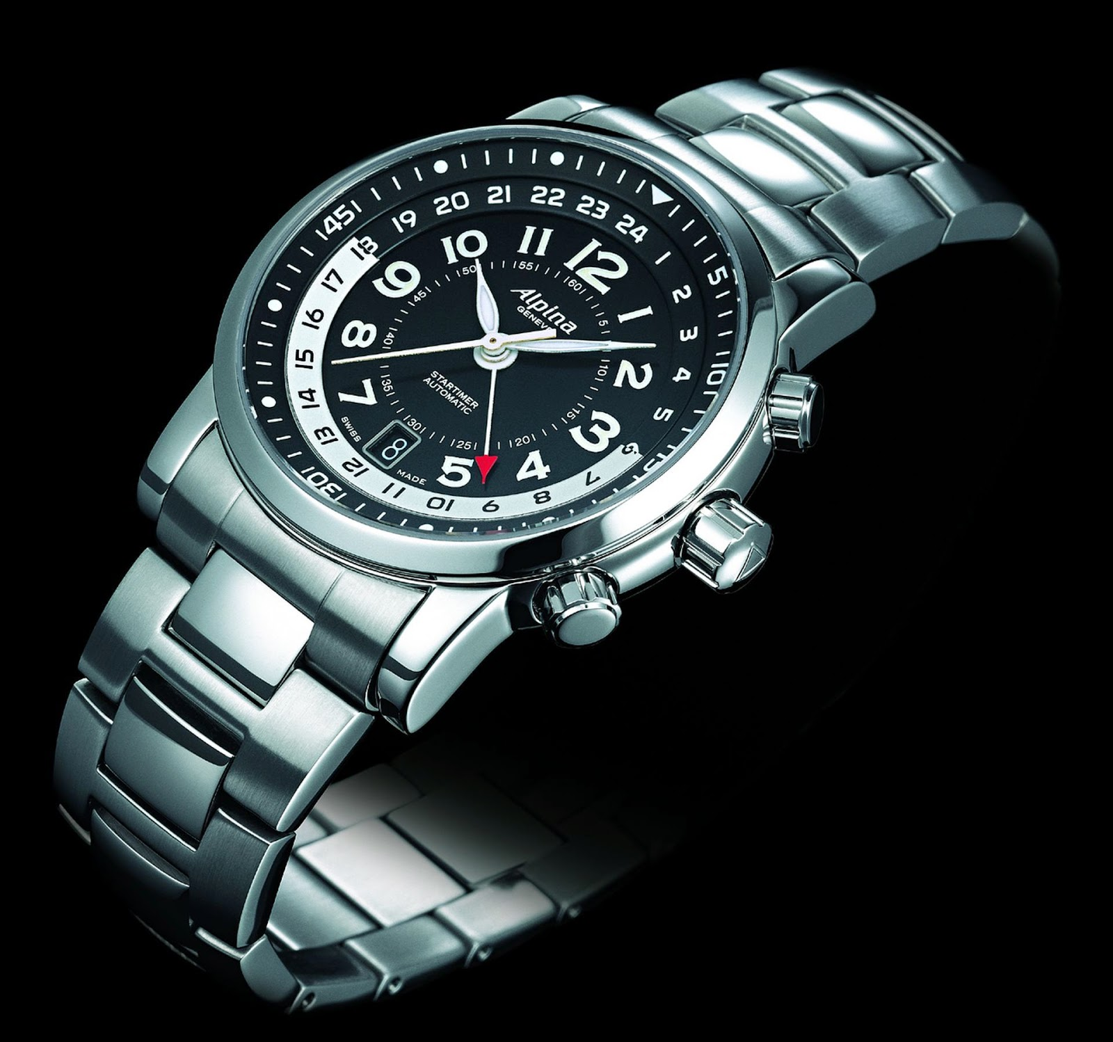 ALPINA Startimer Automatic watch, Stainless Steel Case, Black Enamel Dial