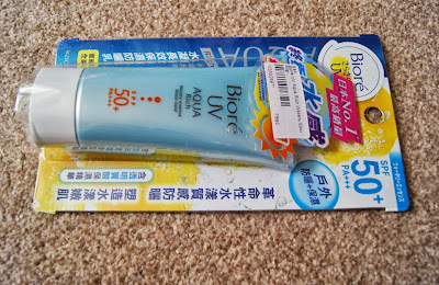 Korean/Asian skincare haul review brands biore uv aqua rich watery essence spf 50 pa+++