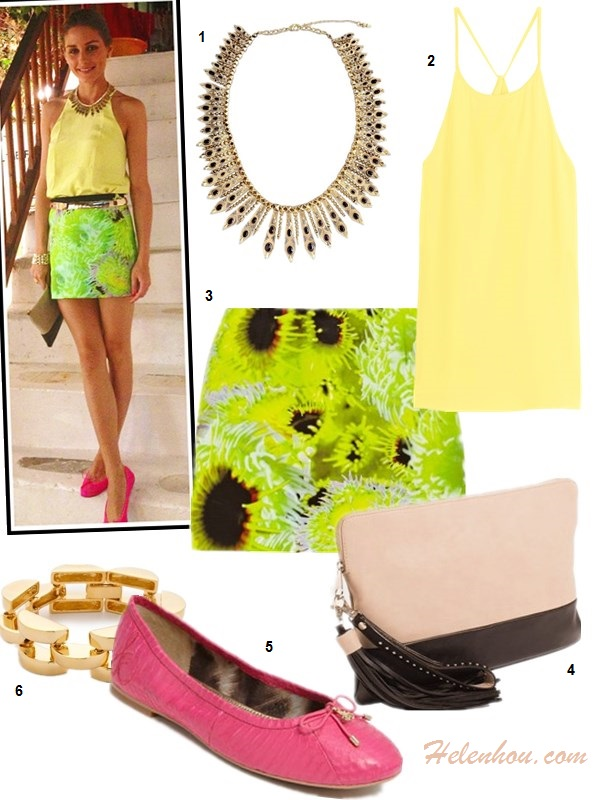 What to Wear on a beach vacation; how to wear print dress or skirt, how to wear black and white, beach outfit ideas 2013; spring/summer, street style;   On Olivia Palermo: House of Harlow 1960 Gypsy Feather Necklace, Tibi Solid Silk Halter Cami, Tibi green floral print mini skirt, pink ballet flat, celine clutch, gold bracelet, gold belt;    Featured:   House of Harlow 1960 Womens Gypsy Feather Necklace in Gold, Tibi - Halter Cami, Tibi Athena printed silk, linen and cotton-blend mini skirt, THE LIMITEDColorblock Oversized Clutch, Sam Edelman 'Felicia'ballet  Flat, Bop Bijoux smooth link gold bracelet