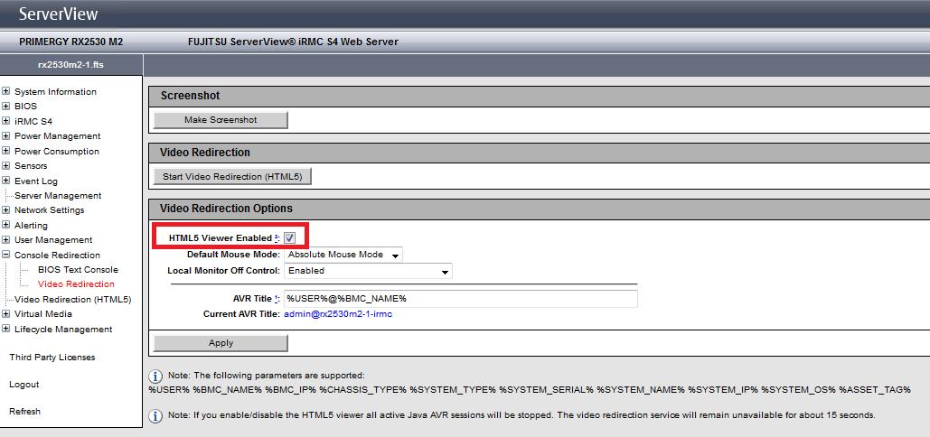 Masa's blog: Fujitsu iRMC HTML5 Console