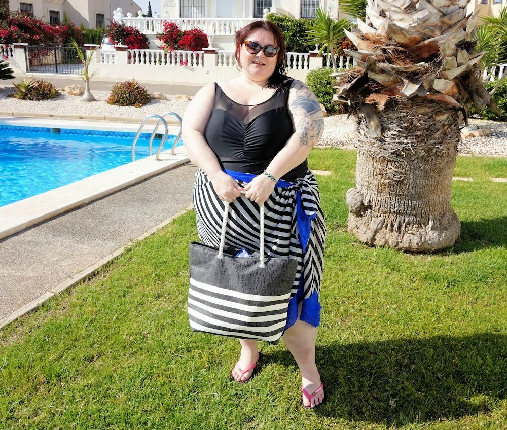 Black-and-white-plus-size-striped-sarong-with-blue-border-by-Yours-Clothing