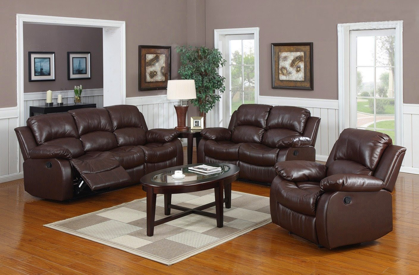Perfect Huntington 3 Pc Bonded Leather Sofa U0026 Loveseat U0026 Chair Set With 5 Recliners