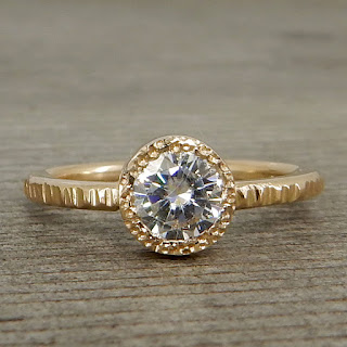 textured moissanite gold ring