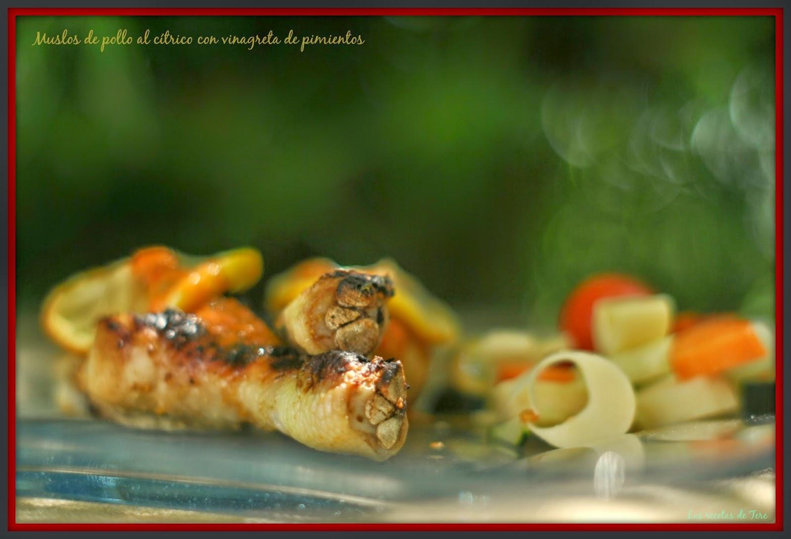 Muslos de pollo al cítrico con vinagreta de pimientos 04
