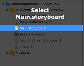 Select Main.storyboard file