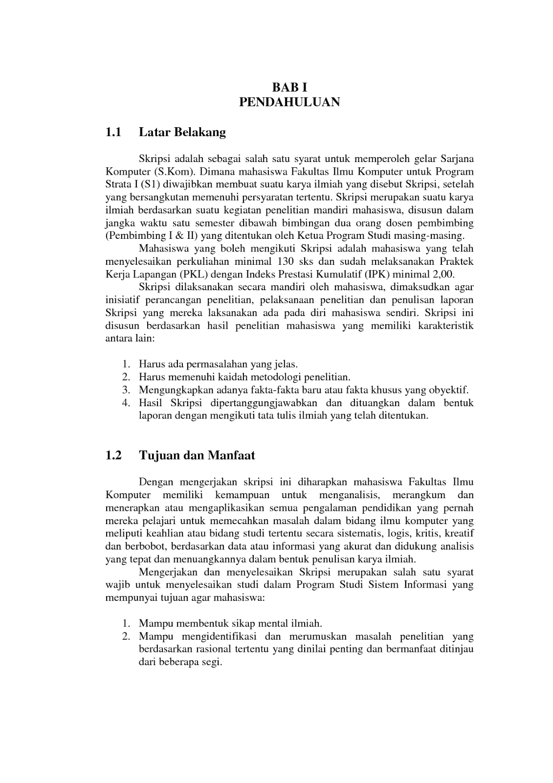 Contoh Proposal Pengajuan Skripsi Jurusan Komputer Ti Si Mi