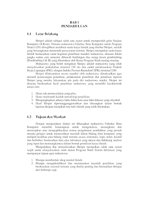 Contoh Proposal Pengajuan Skripsi Jurusan Komputer (TI, SI, MI, Komputer Akuntansi)