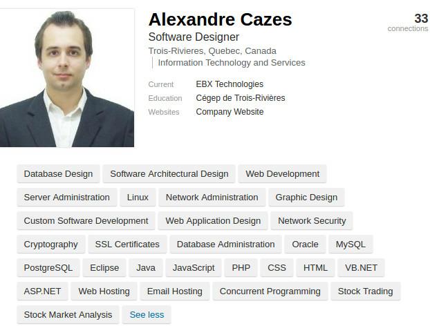 El perfil de LinkedIn de Casez. FOTO: Europol