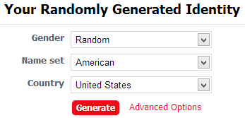 Fake Name Generator Options