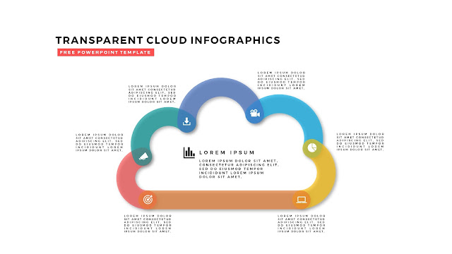 Free Infographic PowerPoint Design Elements with Transparent Clouds in White Background Slide 1