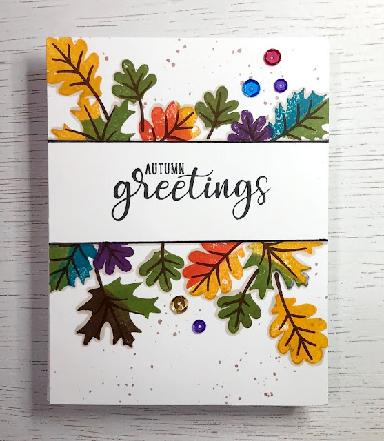 Sunny Studio Stamps: Autumn Splendor Autumn Greetings Customer Card by Kim Skinner