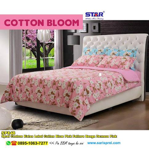 Sprei Custom Katun Lokal Cotton Blom Pink Pattern Bunga Dewasa Pink