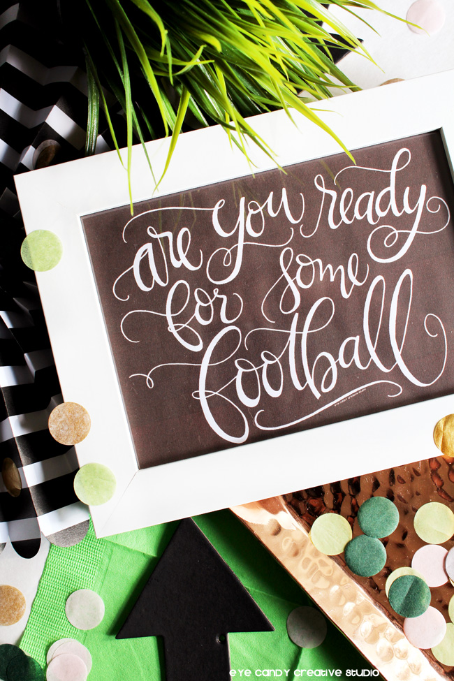 football art print, football party, hand lettered football print, football sundays