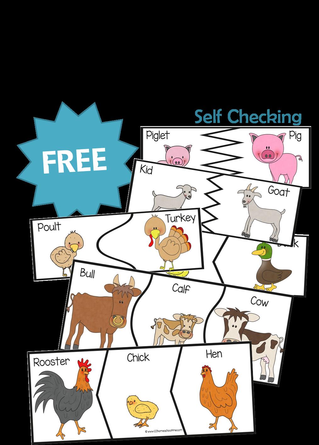 13 Baby Farm Animal Puzzles