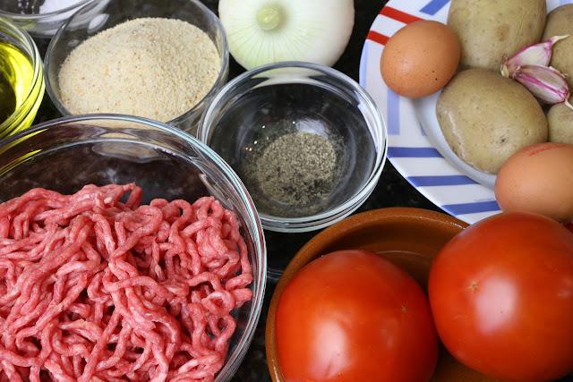 Ingredientes para patatas rellenas de ternera